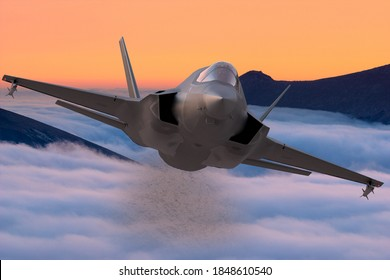 Szczecin,Poland-October 2020:Lockheed Martin F-35 ,3d illustration.