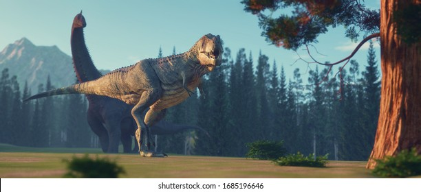 T rex and a branchiosaurus in the jurassic valley . This is a 3d render illustration .