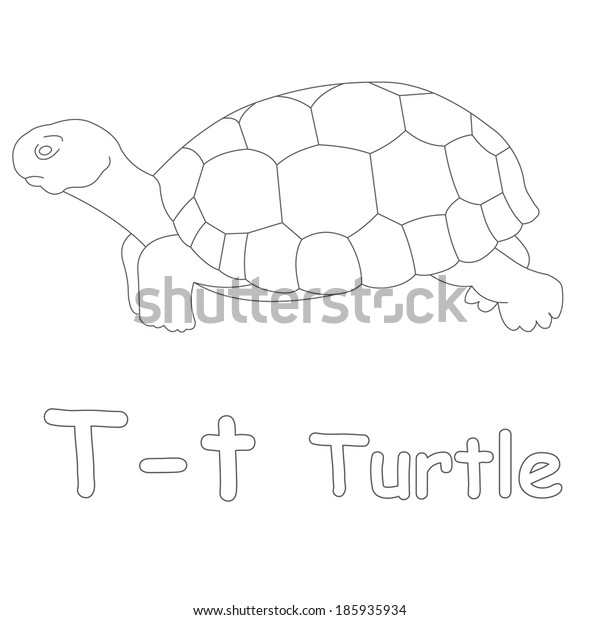 T for Turtle Coloring Page