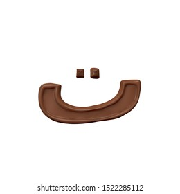 Ta, Te Chocolate Arabic Alphabet letter  FontFamily012 new style 3d volumetric font set isolated on white background illustration