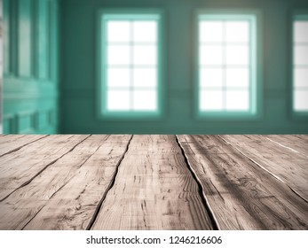 Table background Interior of modern living room 3D rendering