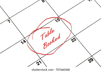 Table Booked Circled on A Calendar in Red