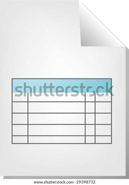 Table Chart Document File Type Illustration Stock Illustration