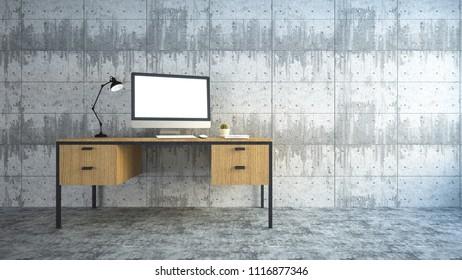Table in empty office room.3d rendering