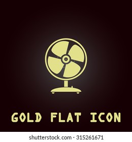 Table fan. Gold flat icon. Symbol for web and mobile applications for use as logo, pictogram, infographic element