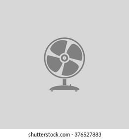 Table fan. Grey simple flat icon