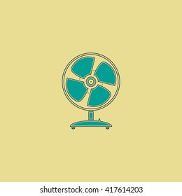 Table fan. Grren simple flat symbol with black stroke over yellow background