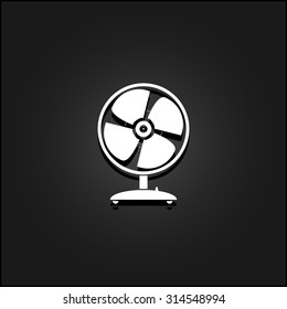 Table fan. White flat simple icon illustration with shadow on a black background. Symbol for web and mobile applications for use as logo, pictogram, icon, infographic element