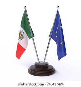 Table flags, Mexico and European Union, isolated on white background. 3d image