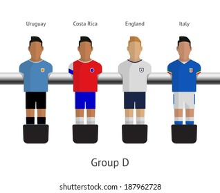 Table football, soccer players. Group D - Uruguay, Costa Rica, England, Italy. See also vector version.