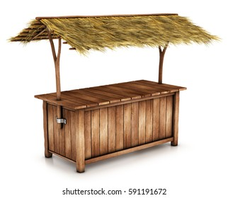 Table, outdoor counter with a thatched roof. 3d image isolated on white.