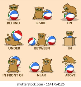 Table Of Prepositions Place With Funny Animal Character English For Children Educational Visual