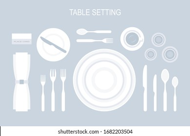 Table setting. The plan for the cutlery on the table. Top view