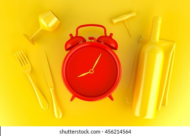 Table setting with red alarm clock, glass and wine bottle. Top view. 3D illustration.