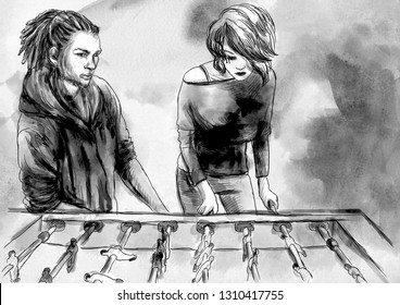 Table soccer - An hand drawn illustration. Digital painting. Two persons playing table football. Colored.