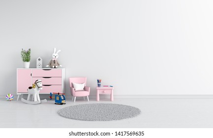 Table and sofa in white child room interior, 3D rendering
