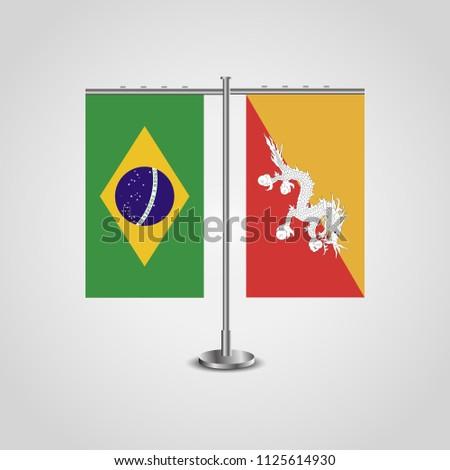 Table Stand Flags Brazil Butane Flag Stock Illustration 1125614930
