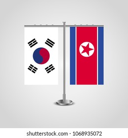 Table stand with flags of South Korea and North Korea.Two flag. Flag pole. Symbolizing the cooperation between the two countries. Table flags