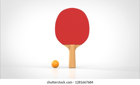table tennis racket and ball front 3d rendering