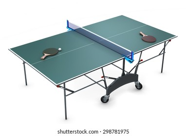 Table tennis with tennis rackets and a ball on it isolated on white background. 3d illustration.