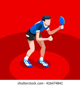 Table Tennis Summer Games Icon Set. 3D Isometric Ping Pong Athlete. Sporting Championship Table Tennis Match Competition. Sport Infographic events Table Tennis Illustration.