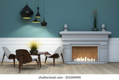 Table For Three Near The Chimney 3d Rendering