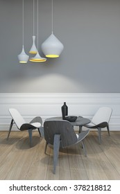 Table For Three Under The Lamp 3d rendering