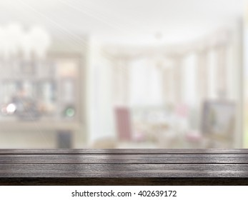 Table Top And Blur Interior of Background 3d rendering