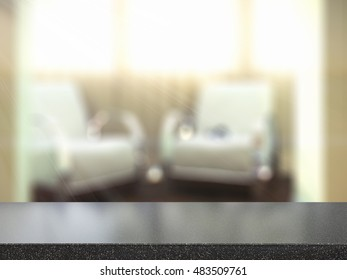 Table Top And Blur Interior of Background 3d render