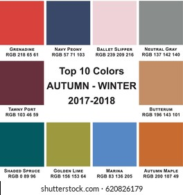 Table trendy colors of a season Autumn-Winter 2017-2018