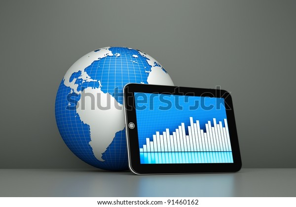 a tablet computer with globe as a concept of diagnosis of world economy state