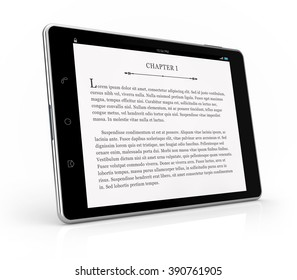 tablet ebook reader isolated white background with clipping path