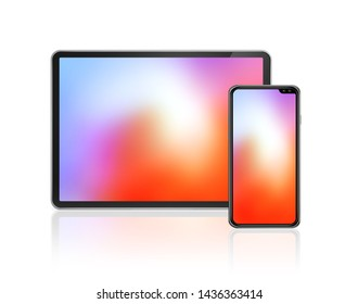 Tablet and mobile phone set mockup isolated on white background with colorful screens. 3D render