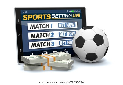 tablet pc with app for sport bets, stacks of banknotes and a soccer ball, concept of online bets (3d render)