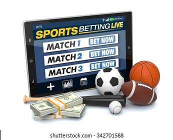 tablet pc with app for sport bets, stacks of banknotes and symbols of various sports, concept of online bets (3d render)