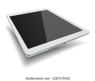 Tablet pc computer with black screen isolated on white background. 3D illustration.