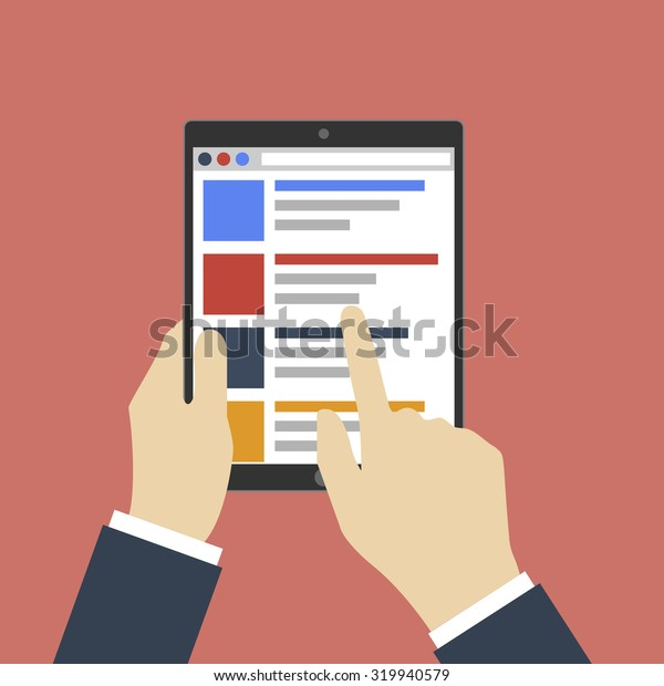 Tablet PC in human hands. Flat style illustration.