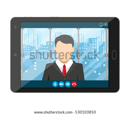 Tablet Pc Internet Conference App Director Stock