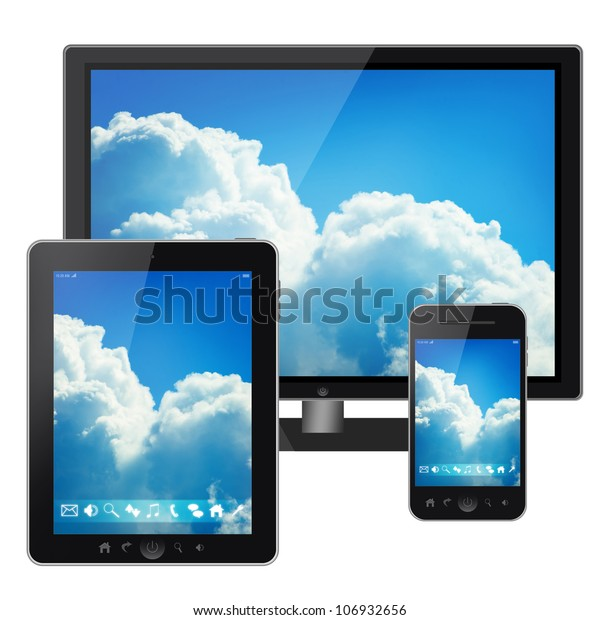 Tablet pc, mobile phone and tv isolated on white background