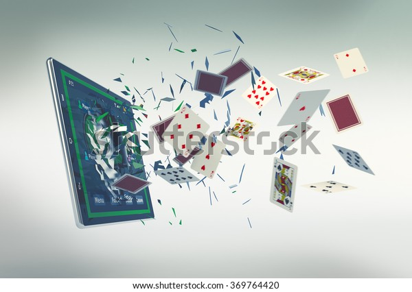 tablet pc with a poker app and lot of poker cards coming out by breaking the glass, concept of online gaming (3d render)