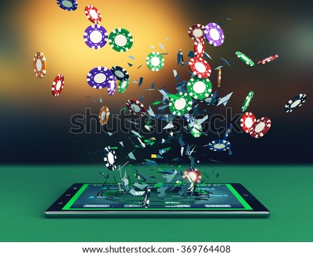 Top view tablet pc poker app stock illustration royalty free.
