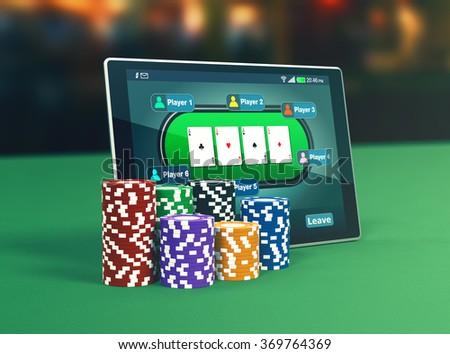 Tablet pc poker app stacks poker stock illustration royalty free.