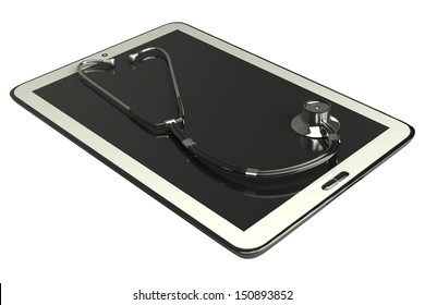 Tablet PC and stethoscope; concept. white background. isolated. 3d