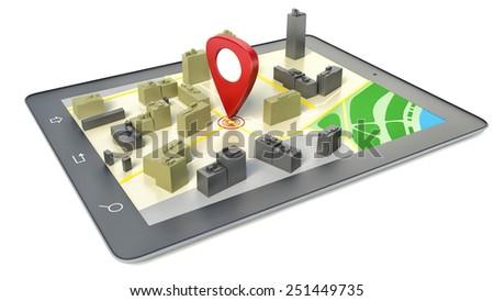 tablet pc wireless navigator map 450w 251449735 tablet pc wireless navigator map gps stock illustration 251449735