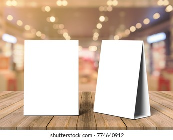 Tablet Tent Talkers Promotional Menu cards white blank Empty for mock up design and templates  3d rendering.