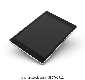 tablet top view mockup isolated white background with clipping path