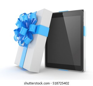Tablet in white gift box with blue bow and ribbons on white. 3D rendering.