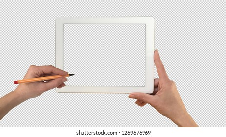 Tablet in woman hand mockup isolated on transparent background, drawing hand, template mock-up, 3d illustration