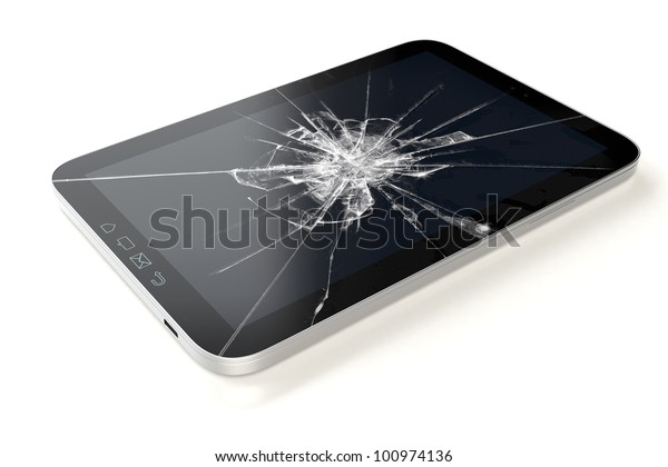 Tablet-PC 3D with broken Touchscreen on white and reflective studio floor