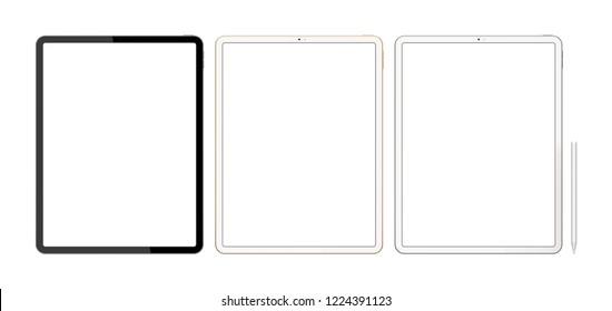 Tablets isolated on a white background with a blank screen. 3d illustration.